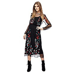 Red Herring - Black floral embroidered mesh long sleeves dress