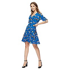 Red Herring - Blue floral print 'Madeline' V-neck mini tea dress