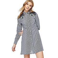 Red Herring - Navy gingham print long sleeve mini shirt dress