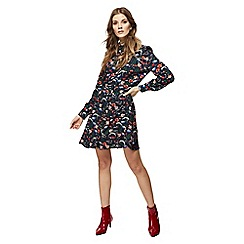 Red Herring - Multi-coloured floral print long sleeve mini shirt dress