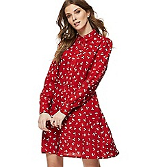 Red Herring - Red cherry print long sleeve mini shirt dress