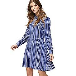 Red Herring - Blue striped print long sleeve mini shirt dress
