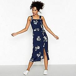 Red Herring - Blue floral print midi shirt dress