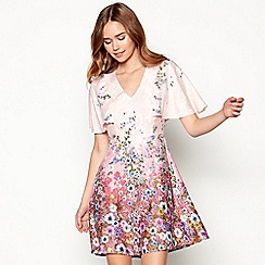 Red Herring - Light pink Mr Darcy floral print dress
