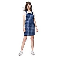Red Herring - Blue checked sleeveless mini pinafore dress