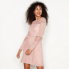 Red Herring - Pink lace detail long sleeve mini shift dress