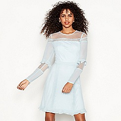 Red Herring - Light blue lace detail long sleeve mini shift dress