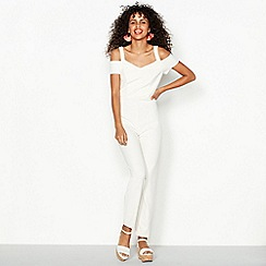 Red Herring - Ivory cold shoulder jumpsuit