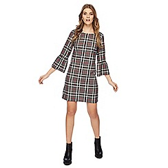 Red Herring - Grey and red checked print mini dress