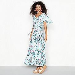 Red Herring - Light blue floral print V-neck maxi dress