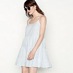 Red Herring - Light blue cotton stripe sleeveless mini sun dress