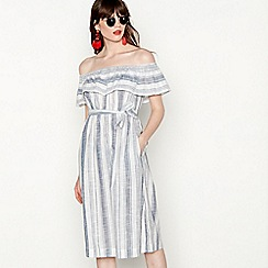 Red Herring - Multi-coloured cotton stripe print Bardot neckline dress