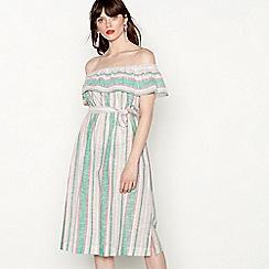 Red Herring - Blue and white stripe bardot dress