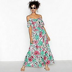 Red Herring - Green floral print V-neck full length ruffle dress