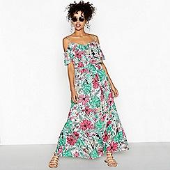 Red Herring - Green floral print V-neck full length ruffle dress