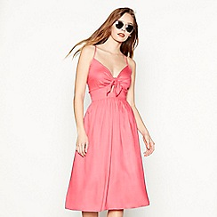 Red Herring - Pink tie front knee length dress