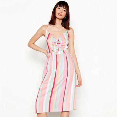 Red Herring - Multi-coloured striped V-neck knee length dress 3ab150823