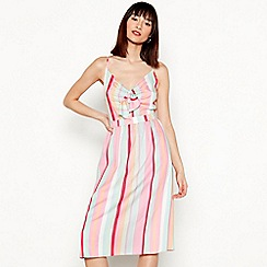 Red Herring - Multi-coloured striped V-neck knee length dress