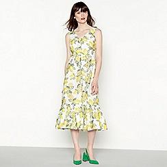 Red Herring - Yellow lemon print cotton V-neck midi length sundress