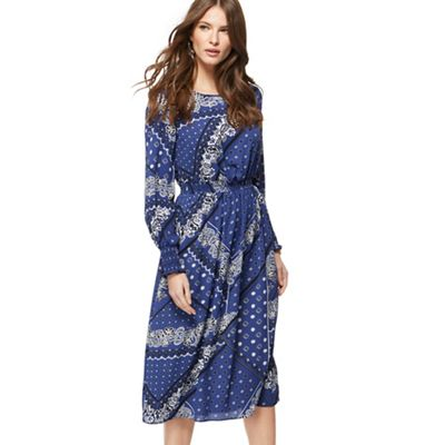 Red Herring   Blue Printed Long Sleeves Midi Dress by Red Herring