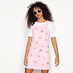 Red Herring - Pink floral embroidered cotton mini pinafore dress