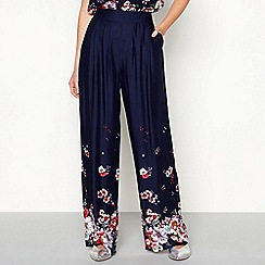 Red Herring - Navy 'Lady Catherine' floral print trousers