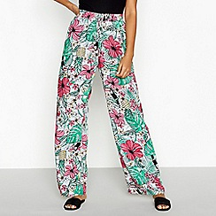 Red Herring - Green tropical print 'Cosmo' casual trousers
