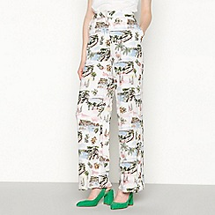 Red Herring - Multi postcard print high waisted palazzo trousers