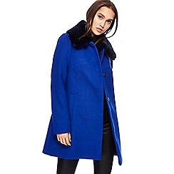 Red Herring - Bright blue faux fur collar dolly coat