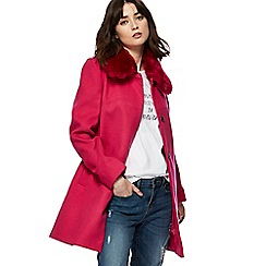 Red Herring - Bright pink faux fur collar dolly coat