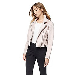 Red Herring - Pink suedette biker jacket