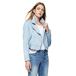 Red Herring - Pale blue suedette biker jacket
