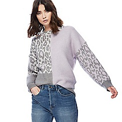 Red Herring - Grey and purple leopard print colour block jumper
