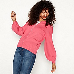 Red Herring - Pink volume sleeve zip through cardigan