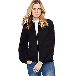 Red Herring - Black volume sleeve zip through cardigan