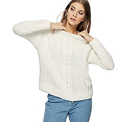 Red Herring - Ivory chunky knit chenille jumper