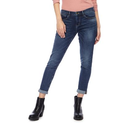 1324bae1fe23e Red Herring Dark blue 'Chloe' mid wash girlfriend jeans | Debenhams