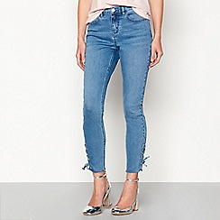Red Herring - Blue 'Holly' lace-up hem ankle grazer jeans