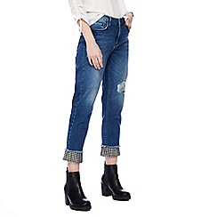 Red Herring - Blue straight leg gingham frill jeans