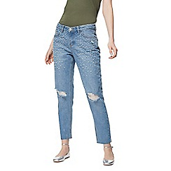 Red Herring - Light blue 'Chloe' pearl embellished girlfriend jeans