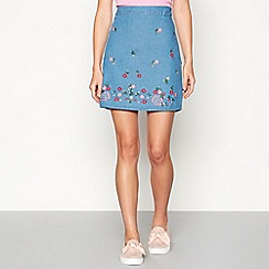 Red Herring - Blue floral embroidered mini skirt