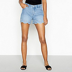 Red Herring - Mid blue embroidered denim shorts