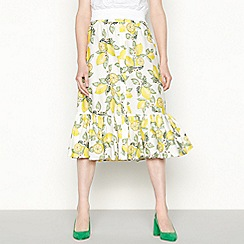 Red Herring - Yellow lemon print cotton high waisted midi skirt