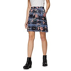 Red Herring - Blue checked floral print skirt