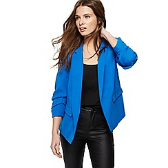 Red Herring - Blue ruched sleeves blazer