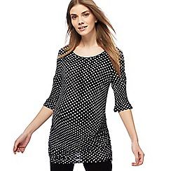 Red Herring Maternity - Black dot print maternity top