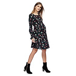 Red Herring Maternity - Black floral print long sleeves mini maternity skater dress
