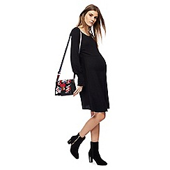 Red Herring Maternity - Black long sleeves knee length maternity skater dress