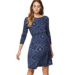 Red Herring Maternity - Navy bandana print knee length maternity skater dress