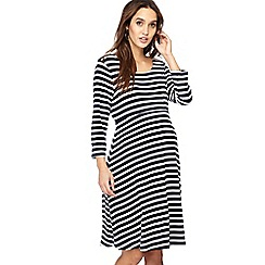 Red Herring Maternity - Navy stripe print knee length maternity skater dress